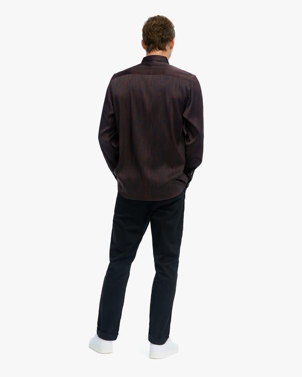 Special Pattern Printed Premium Silk Men Shirt red-w02 S