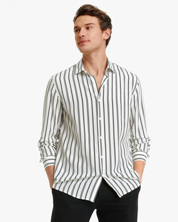 Classic stripes Printed Men Shirt Chic-Black-Stripes S