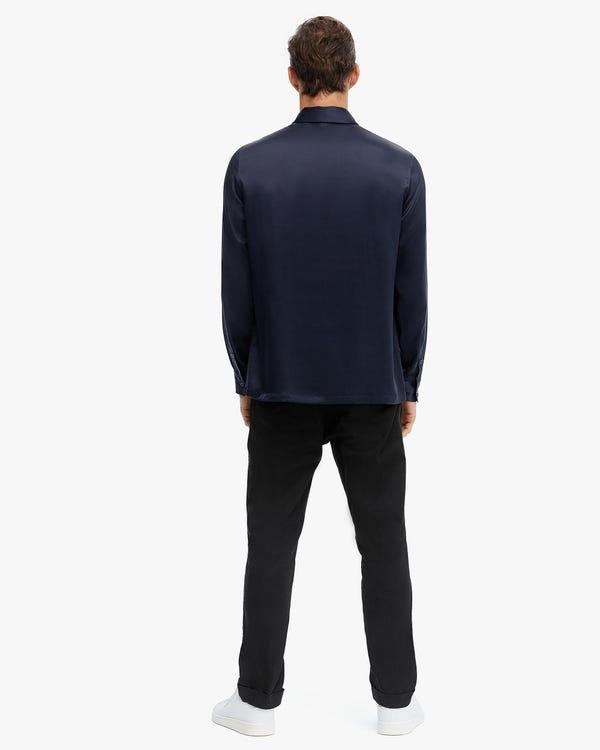 Reine Farbe Seide Herren Poloshirt Navy Blue M-hover