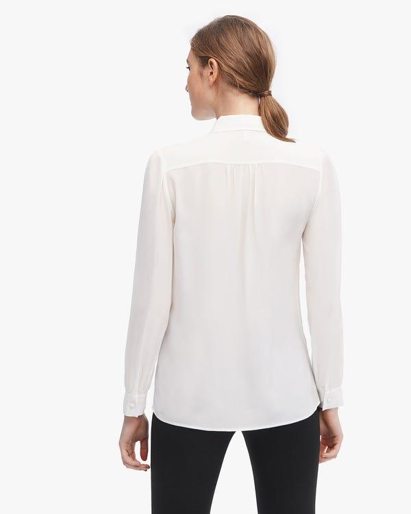 Feminine Detachable Ruffle Silk Blouse