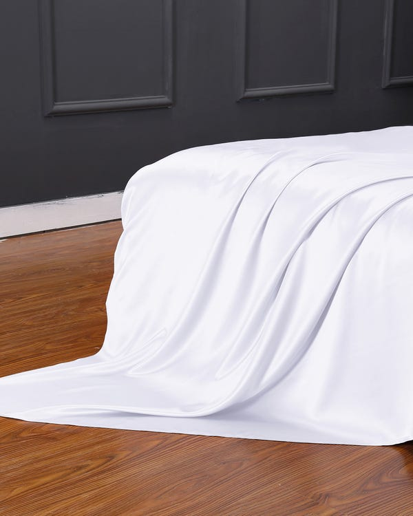 22 Momme Seamless Silk Flat Sheet White Twin-hover