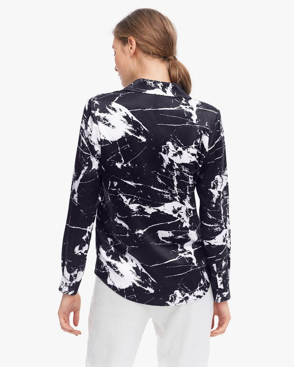 Abstract Marbling Print Silk Blouse-hover