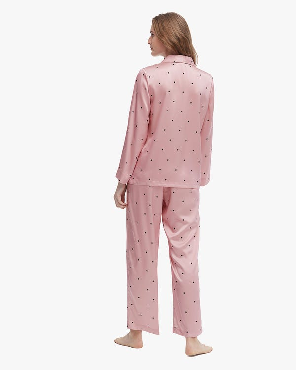 Lovely Dotted Silk Pajamas Set-hover