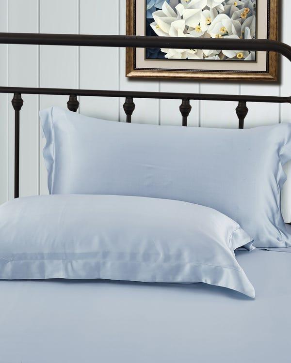 22 Momme Oxford Silk Pillowcase Silver Blue Standard