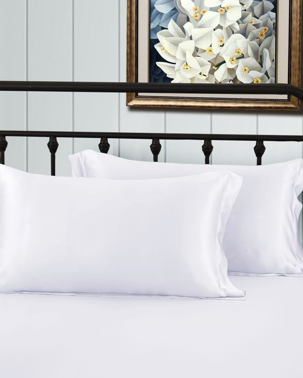 22 Momme Oxford Silk Pillowcase White King-hover