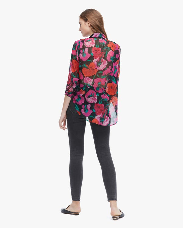 Romantic Floral Print Silk Shirt