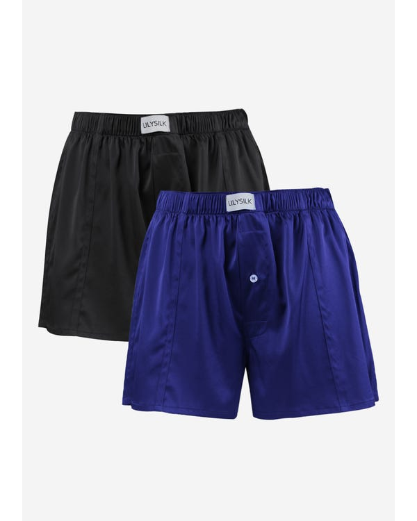 Luxury Fitted Draping Silk Boxer For Men 2 Pack Black-Blue S-hover