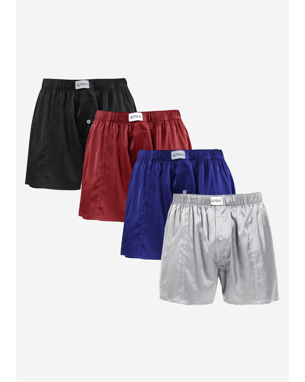 Luxury Fitted Draping Silk Boxer For Men 4 Pack none S-hover