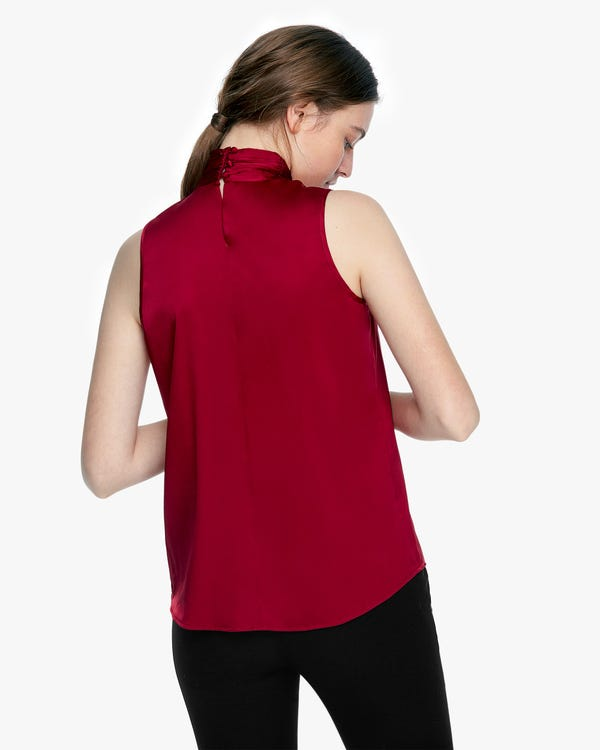 Graceful Silk Mock Neck Top-hover