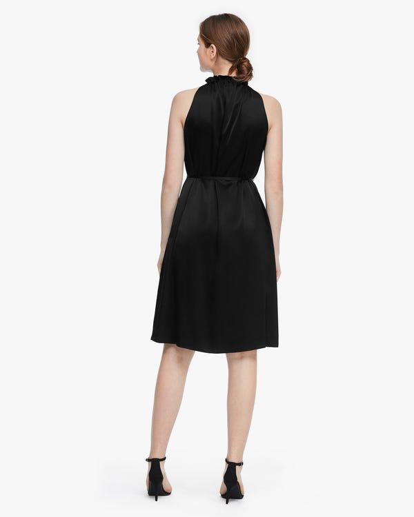 Silk Gather Neck Sleeveless Dress