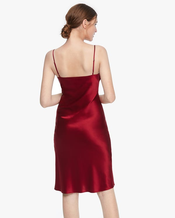 Silk Cami Dress With Ruching Claret XXL-hover