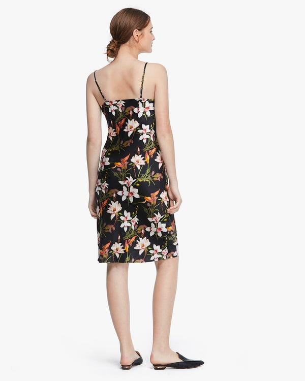 Lily floral Print Silk Slip Dress Lily-On-Black XXL-hover
