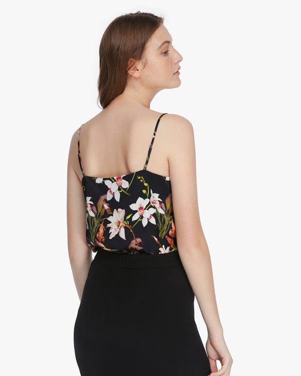 Stylish Lily Print Silk Camisole-hover