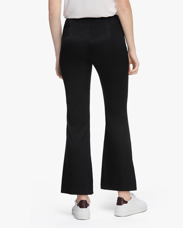 High Rise Silk Flared Pants Black 29B-hover
