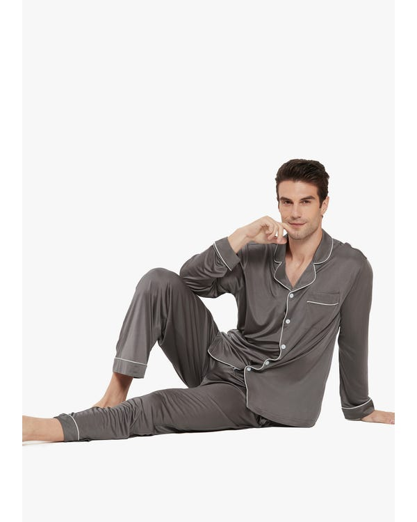 Casual Lapel Collar Silk Pyjamas Set for Men-hover