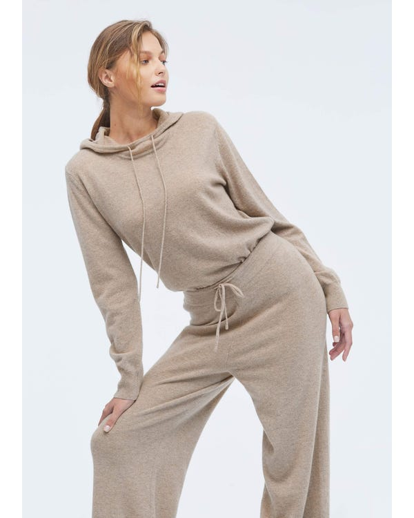 Casual Cashmere Knitting Trousers Warm-Taupe L-hover