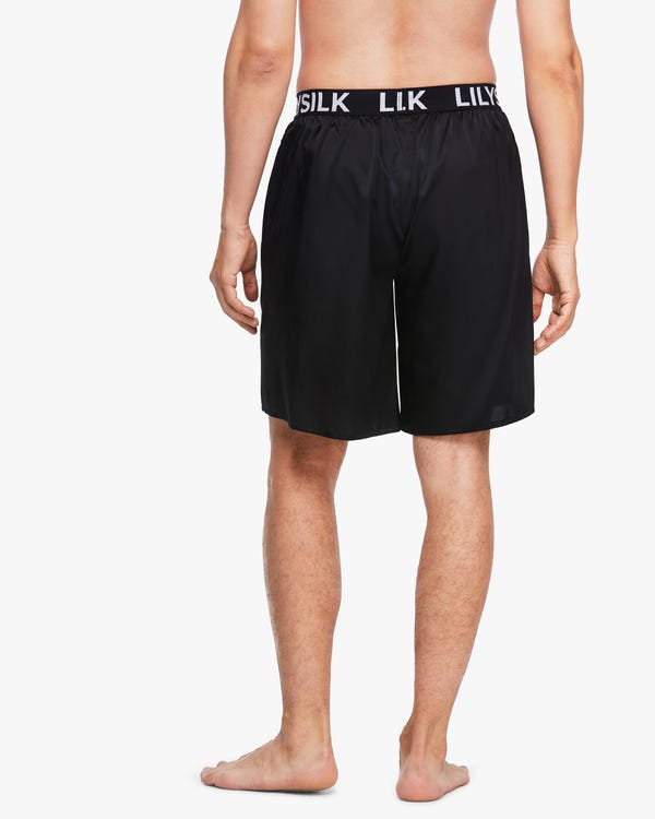 LILYSILK' Print Silk Men Shorts Black 36A