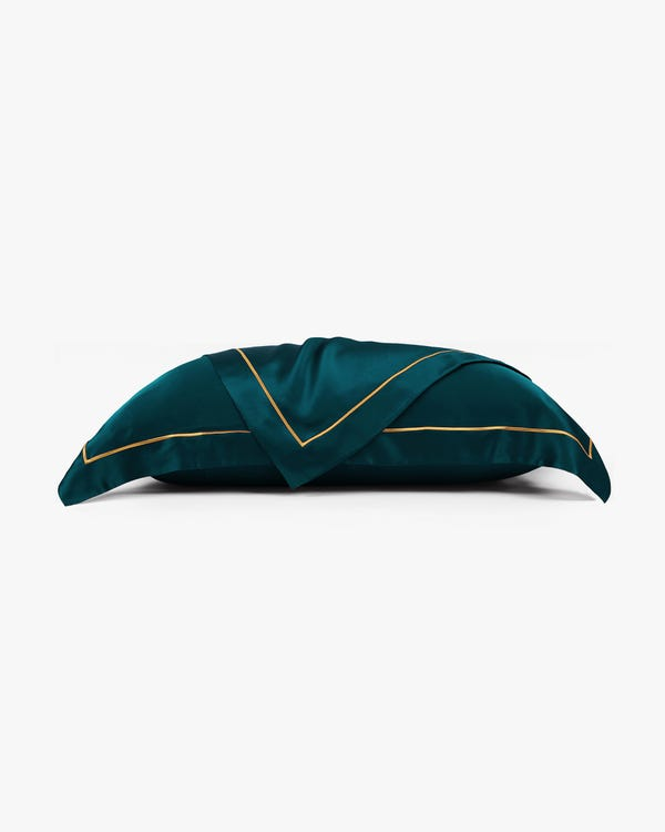 19 Momme Envelope Silk Pillowcase With Gold Piping Dark Teal 50x75cm-hover