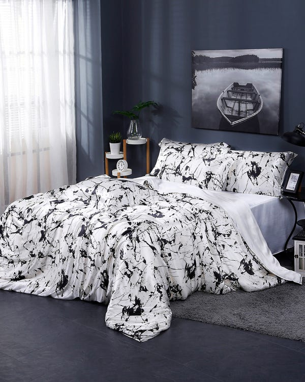 19 Momme Marbling Print Silk Doona Cover White Marble Print Super King-hover