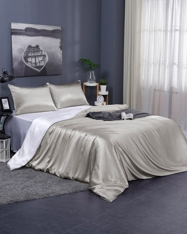 19 Momme Contrast Color Silk Duvet Cover Silvergray+White Cal.King