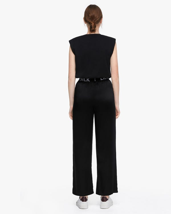 Silk Straight Leg Pants With Logo Black 29B-hover