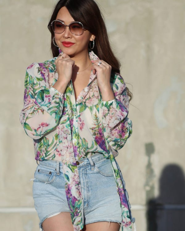 MIM Floral 2 in 1 Silk Blouse-hover