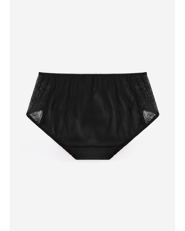 Simple Comfy Lace Silk Knicker Black S-hover