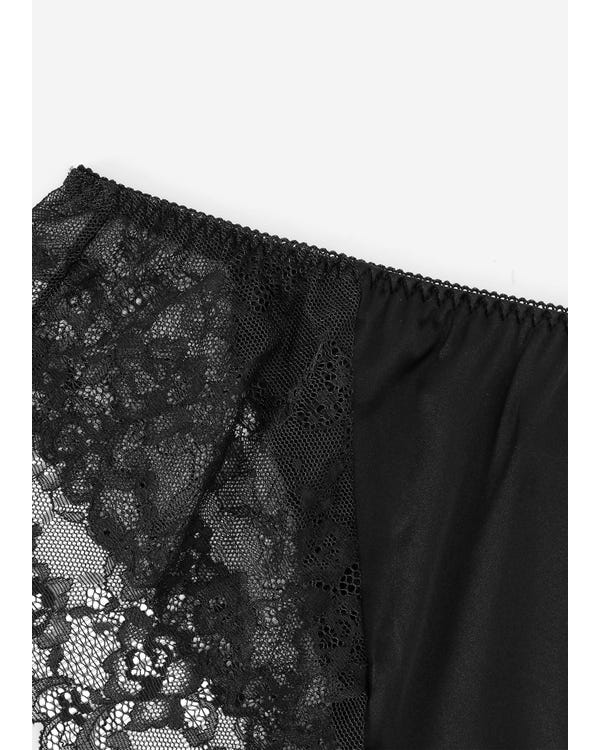 Sexy Lace Silk Knicker For Women Black M-hover