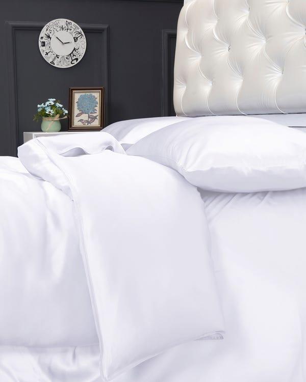 25 Momme nahtlos Seide Bettbezug Weiß 155x200cm-hover