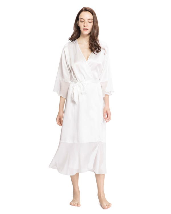 22MM Vintage V Neck Airy Silk Dressing Gown-hover
