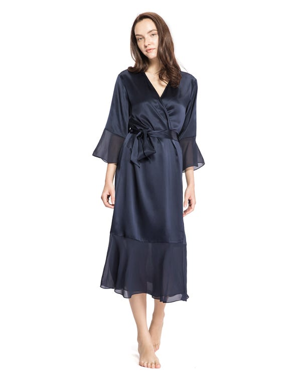 22MM Vintage V Neck Airy Silk Dressing Gowns Navy Blue Extra M-hover