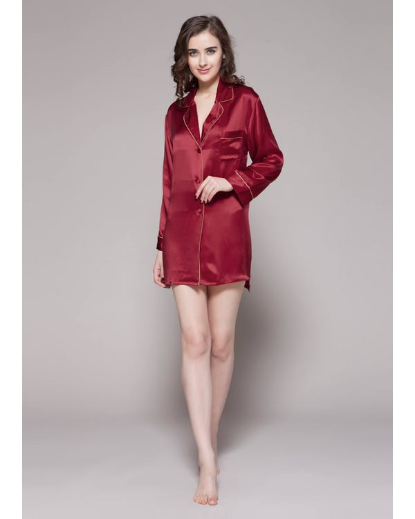 22 Momme Contra Trim Silk Nightshirt-hover