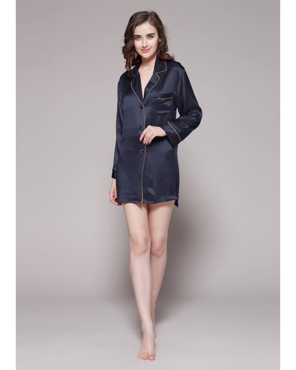 22 Momme Contra Trim Silk Nightshirt Navy Blue 1X-hover
