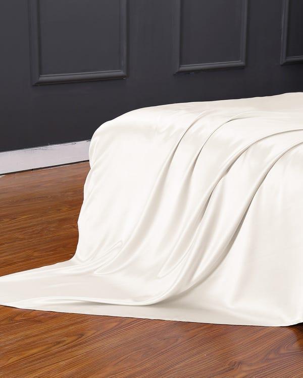 25 Momme lenzuolo da sopra di seta senza cucitura Avorio 180x200cm-hover
