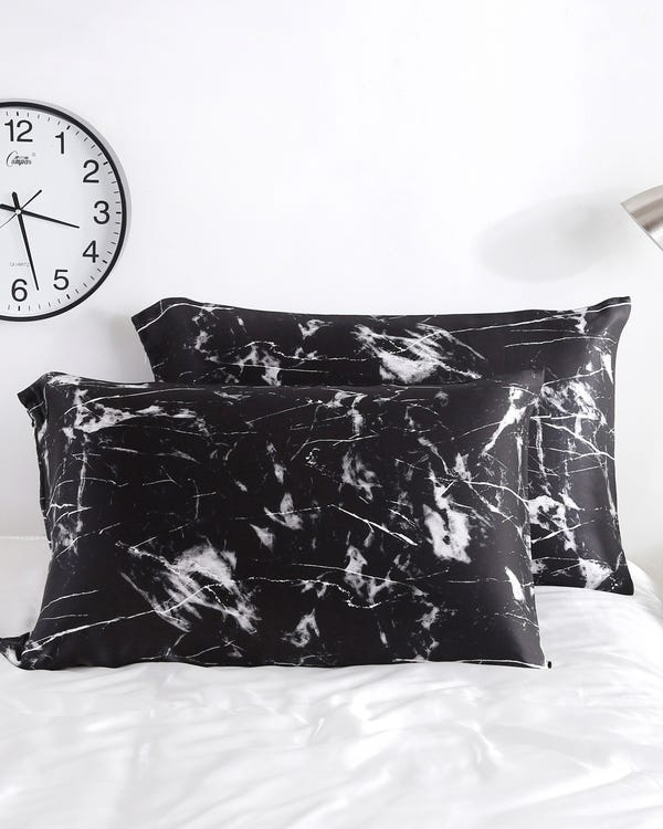 19 Momme Marbling Print Silk Pillowcase Black Marble Print King-hover