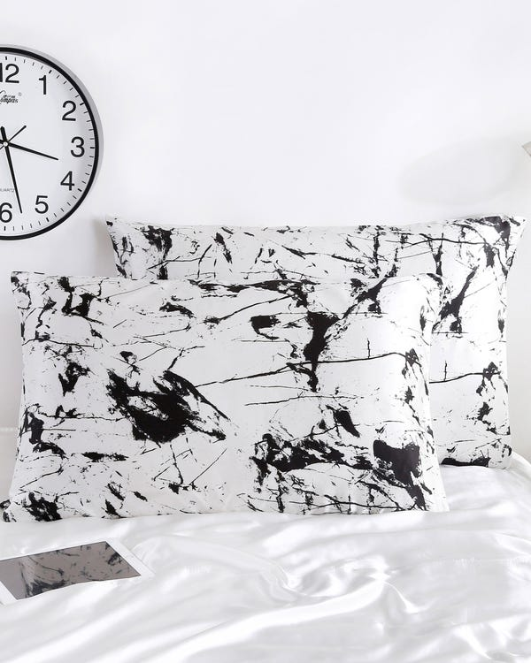19 Momme Print Silk Pillowcase with Hidden Zipper White Marble Print 30x40cm-hover