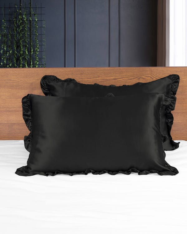 19MM Silk Pillowcase With Ruffle Trim Black 50x90cm-hover