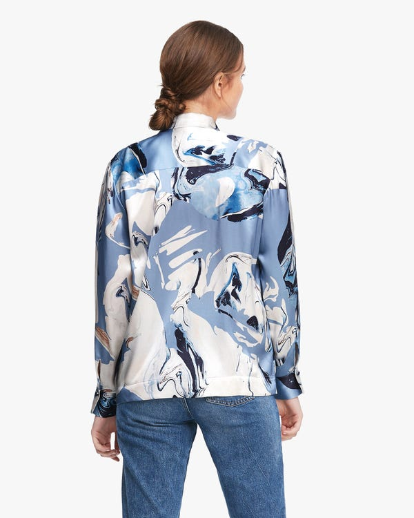 Vibrant Geode Print Silk Blouse-hover