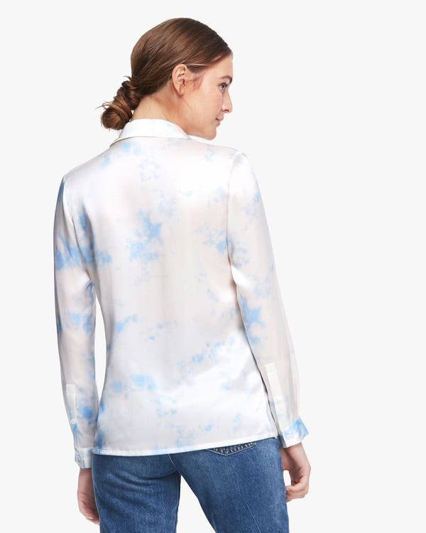 Fresh Watercolor Print Silk Blouse