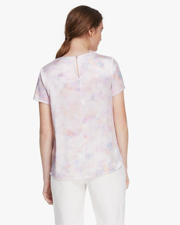 Watercolor Print Silk T Shirt-hover