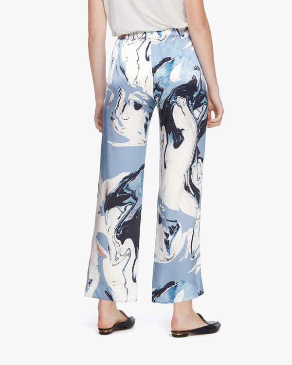 Water Pollution Plastic Print Women Silk Pants Geode-Print 29B-hover