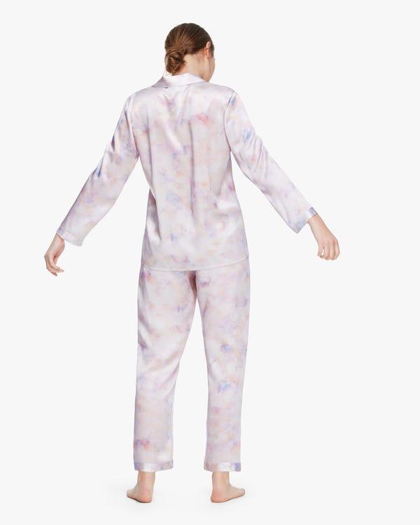 Printed Silk Pyjama Set For Women Pink-Purple-Tie-Dye XL-hover