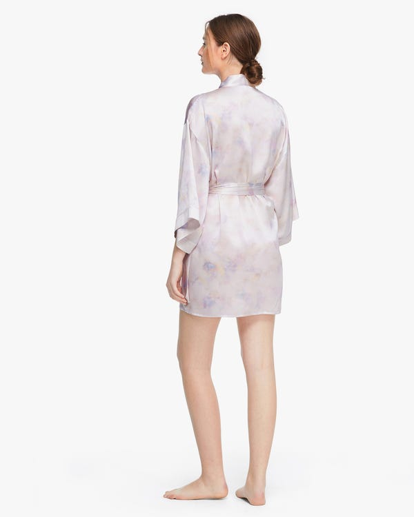 Watercolor print Mid-length Women Silk Robe Pink-Purple-Tie-Dye XS-hover