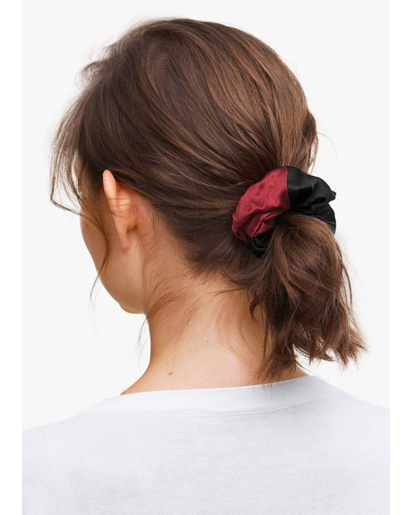 Silk Hair Scrunchie with Contrast Color