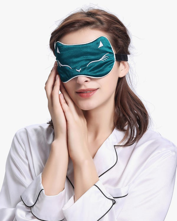Cat Pattern Embroidered Silk Sleep Eye Mask-hover