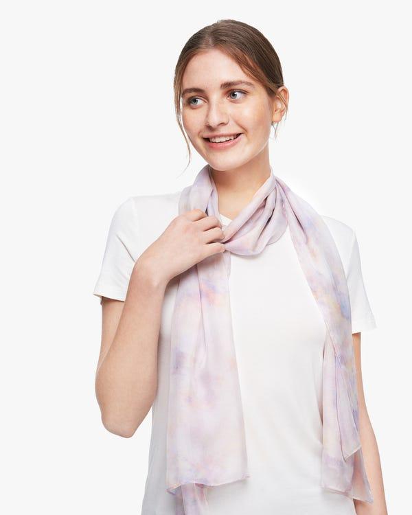 Watercolor Print Silk Scarf-hover