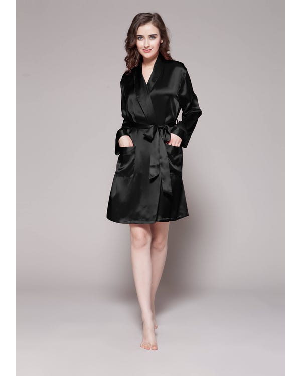 22 Momme Mid Length Silk Robe Black 1X-hover