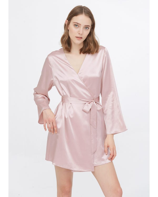 22 Momme Loose Collarless Silk Robe-hover