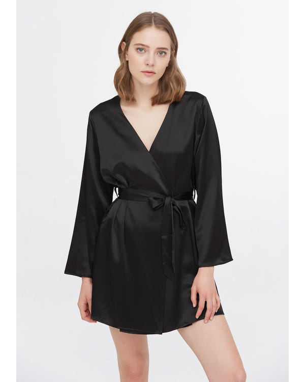 22 Momme Loose Collarless Silk Robe Black L-hover