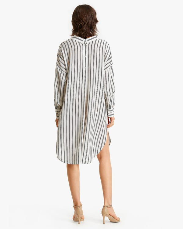 Stripes Printed Button-up long Silk Dress-hover